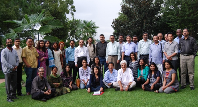 South Asia Climate Change media fellows first batch and editors meet in Kathmandu - Aug 2012 - Photo courtesy Subhra Priyadarshini